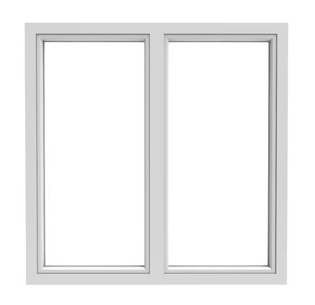 wit raamkozijn op een witte achtergrond Stockfoto