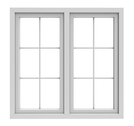 windows and doors: white window frame isolated on white background