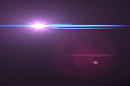 light ray: digital lens flare in black background horizontal frame warm Stock Photo