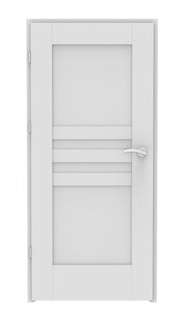 3d witte deur op een witte achtergrond Stockfoto
