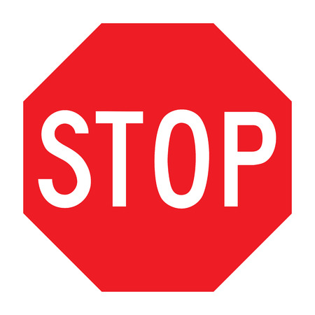 caution: A red stop sign on a white background Stock Photo