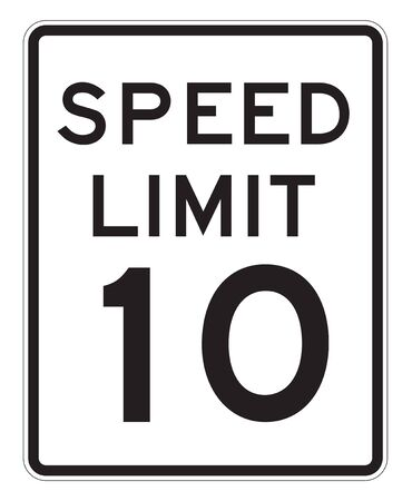 mph: Speed Limit 10 MPH Sign Isolated on White