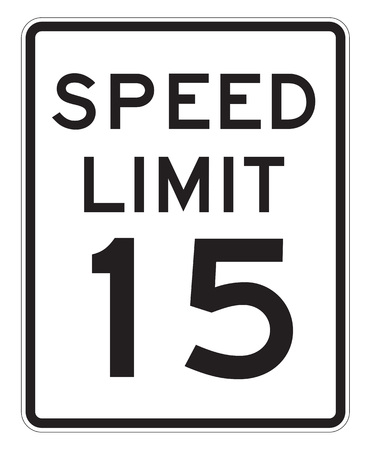 admonition: Speed Limit 15 MHP sign isolated on a white background Stock Photo