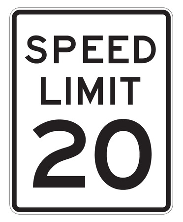 mph: Speed Limit 20 MPH Sign Isolated on White Stock Photo