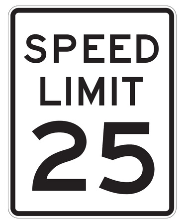 mph: Speed Limit 25 MPH Sign Isolated on White