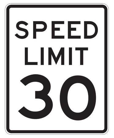 mph: Speed Limit 30 MPH Sign Isolated on White