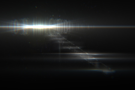 horizontal: digital lens flare in black background horizontal frame warm Stock Photo