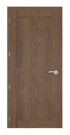 cerrar la puerta: Puerta de entrada de madera en un fondo blanco. Foto de archivo