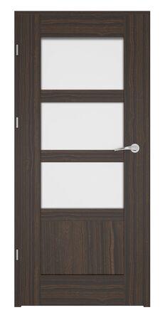 wood door: Entrance wooden door on a white background. Stock Photo