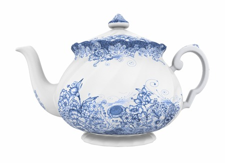 pottery: China teapot isolated on white background