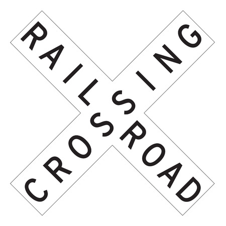 railroad crossing: Railroad Traffic Sign - Road sign of train crossing road on white background