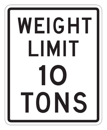 forewarning: Weight Limit 10 tons sign isolated on a white background. Stock Photo