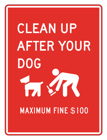 pooping: clean up after your dog sign in red background