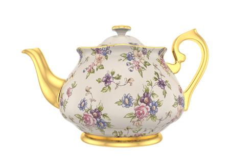 tarde de cafe: tetera de porcelana con un patrón de rosas y oro en estilo clásico aislado en blanco Foto de archivo