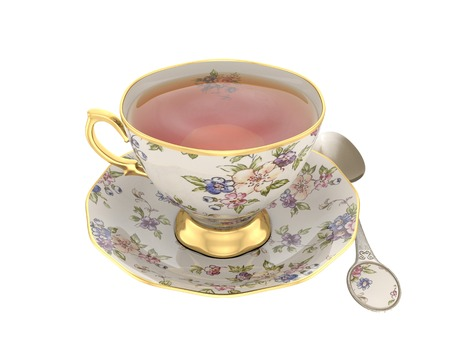 Antique tea cup full of tea on white background Stock fotó