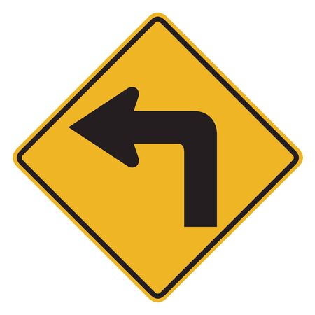 choose a path: Turn left yellow road sign isolated on white background with clipping path. Stock Photo