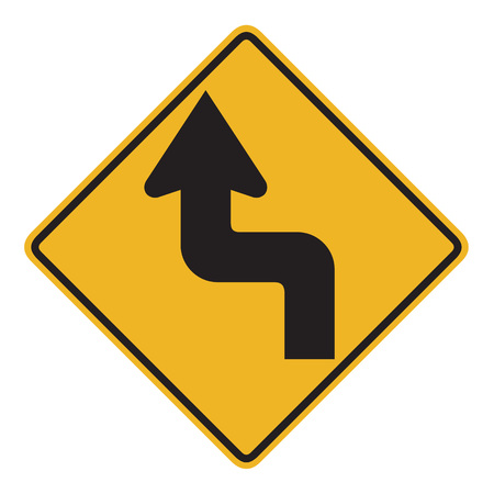 right handed: Australian road warning sign - Reverse turn Stock Photo