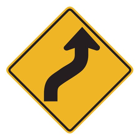 reverse: New Zealand road sign - Reverse curve less than 60 degrees, to right. Stock Photo