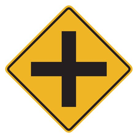 motorist: Traffic sign, Intersection ahead sign on white background