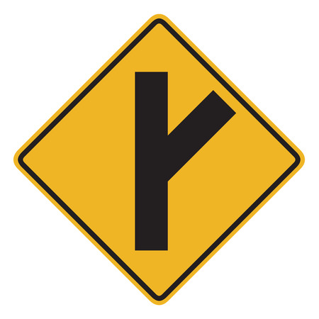 routing: Canadian road warning sign - 45 degree Intersection ahead. This sign is used in Ontario.