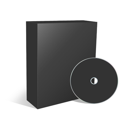 recordable media: 3d blank box and cd or dvd disk Stock Photo
