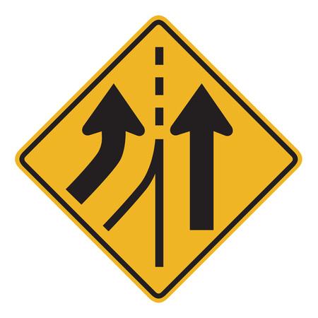 lane: Warning traffic sign MERGING LANE Stock Photo
