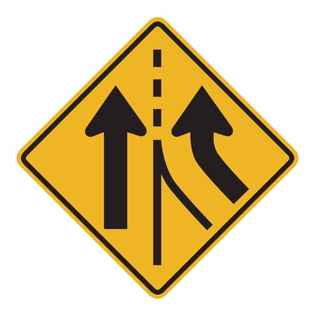 merging: Warning traffic sign MERGING LANE Stock Photo