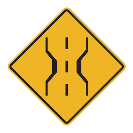street signs: US road warning sign: Narrow bridge symbol