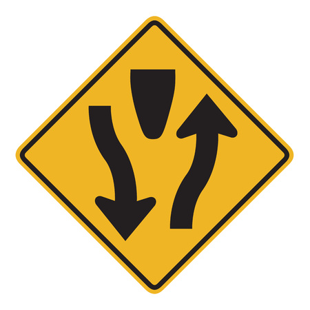 information median: Divided Highway Begins sign isolated on a white background