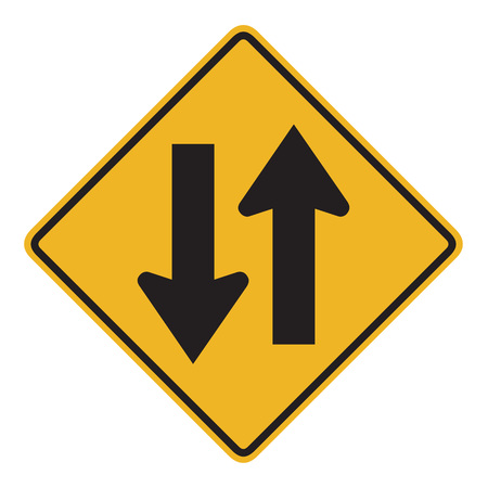 two lane highway: two way yellow sign on white background