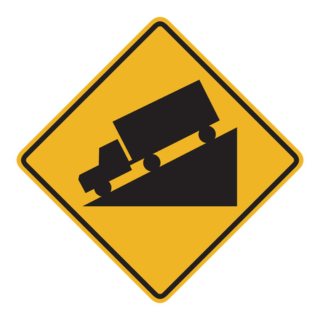 downhill: Truck Downhill Traffic Sign Stock Photo