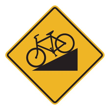 steep: An Australian warning traffic sign - Steep descent for cyclists Stock Photo