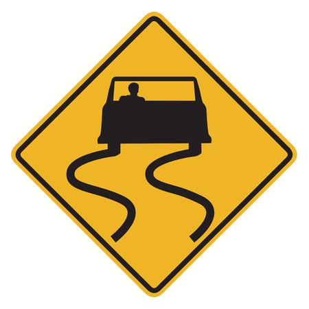 미끄러운 젖은 도로 표지판 때