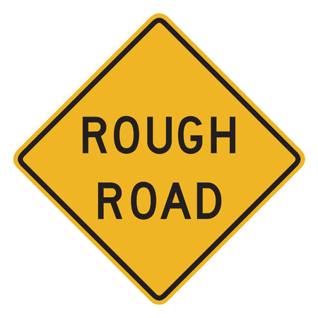 rough road: US road warning sign: Rough road