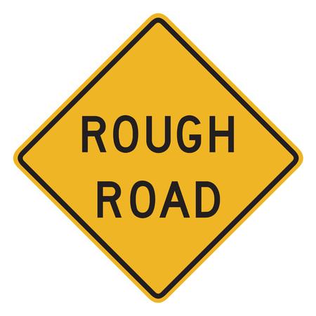 rough road: US road warning sign: Rough road