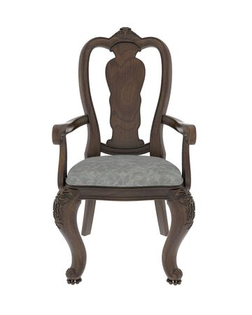 hand carved: Hand carved antique arm chair with clipping path on white background