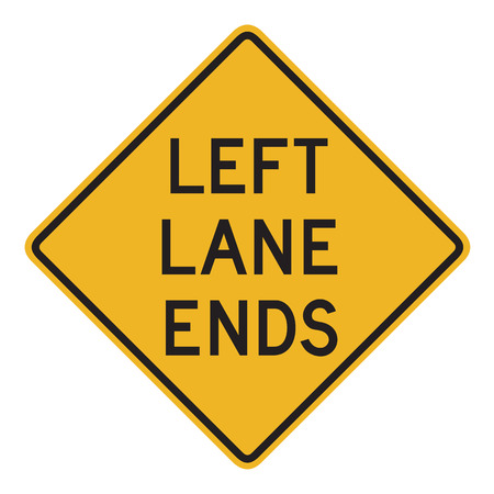 the ends: Australian road warning sign - Left lane ends