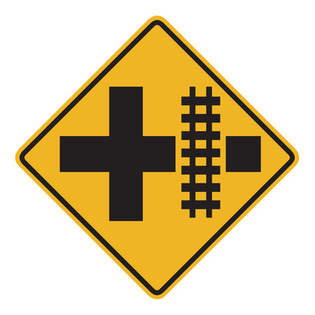 railroad crossing: The Parallel Railroad Crossing (crossroad) street sign. Stock Photo