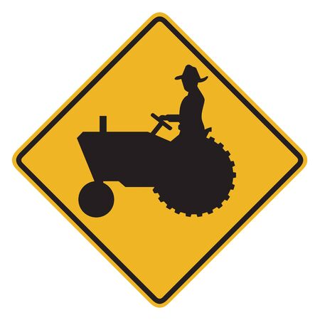 tractor warning: Tractor warning sign on white