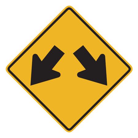 fl�che double: Double arrow w12 road sign