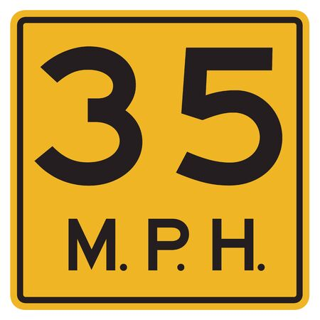 mph: US road warning sign: Advised speed 35 mph