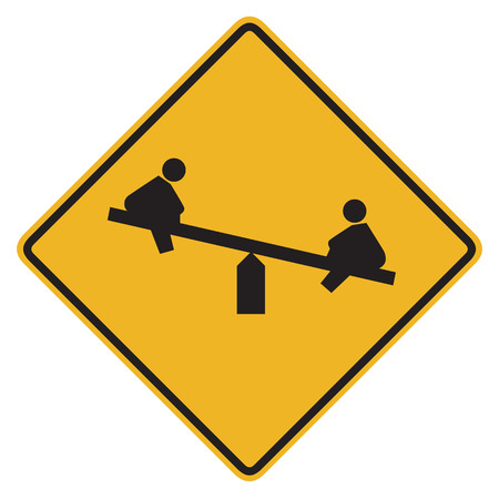 safety symbols: Bright, clean playground road sign, isolated on pure white - photo realistic Stock Photo