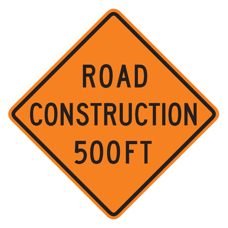 forewarning: Road Construction 500 ft sign isolated against a white background