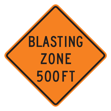 admonition: Blast Zone 500 FT sign isolated on a white background Stock Photo