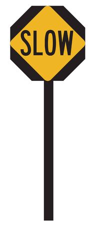 take down notice: Slow sign on yellow road label