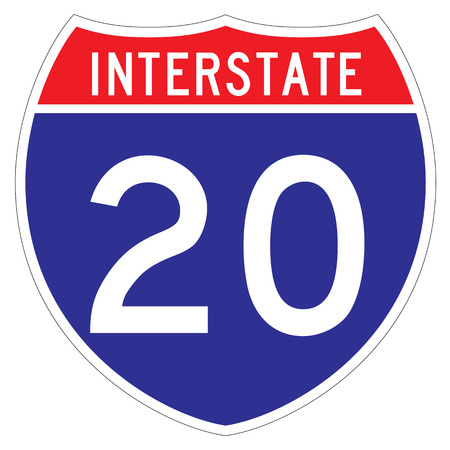 innuendo: Interstate 20 sign, which runs through Indiana and Michigan Stock Photo