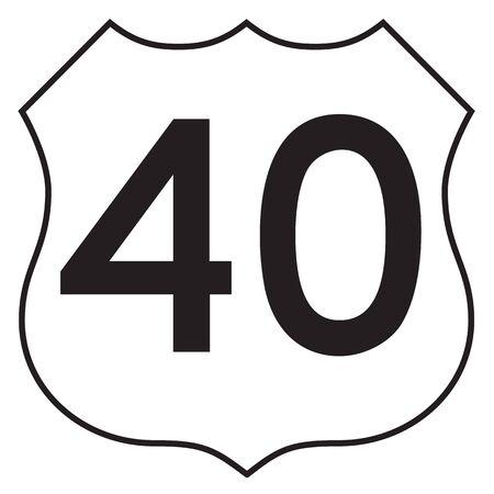40: US 40 highway sign