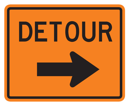 divergence: Detour Right road sign