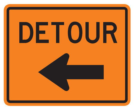 detour: Detour Left road sign