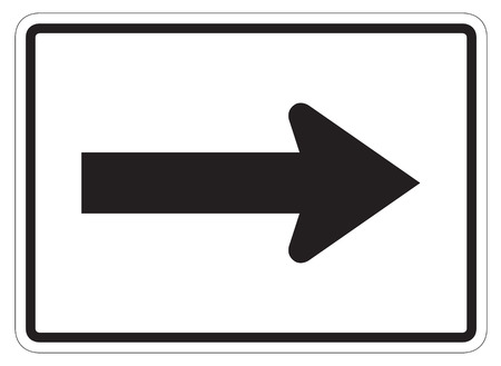 directional arrow: Right directional arrow auxiliary sign isolated on a white background